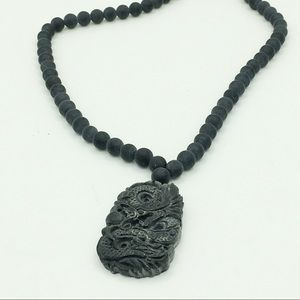 Chinese black natural carved stone pendant neklace